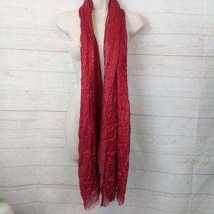 """Red Metallic Layered Wrap Scarf Shawl 30"""" x 74"""""""